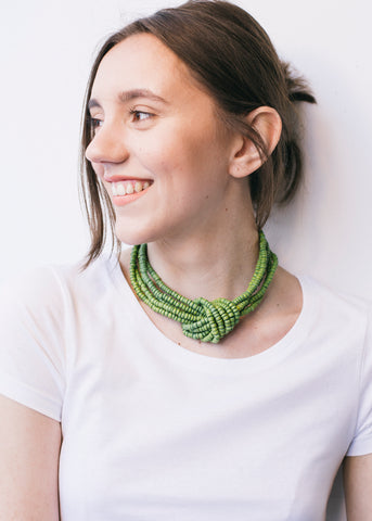 Heishi Knot Necklace in Green-Jewellery-Sancho's Dress