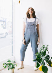 Sancho's Herringbone Dungarees in Blue-Dungarees-Sancho's Dress