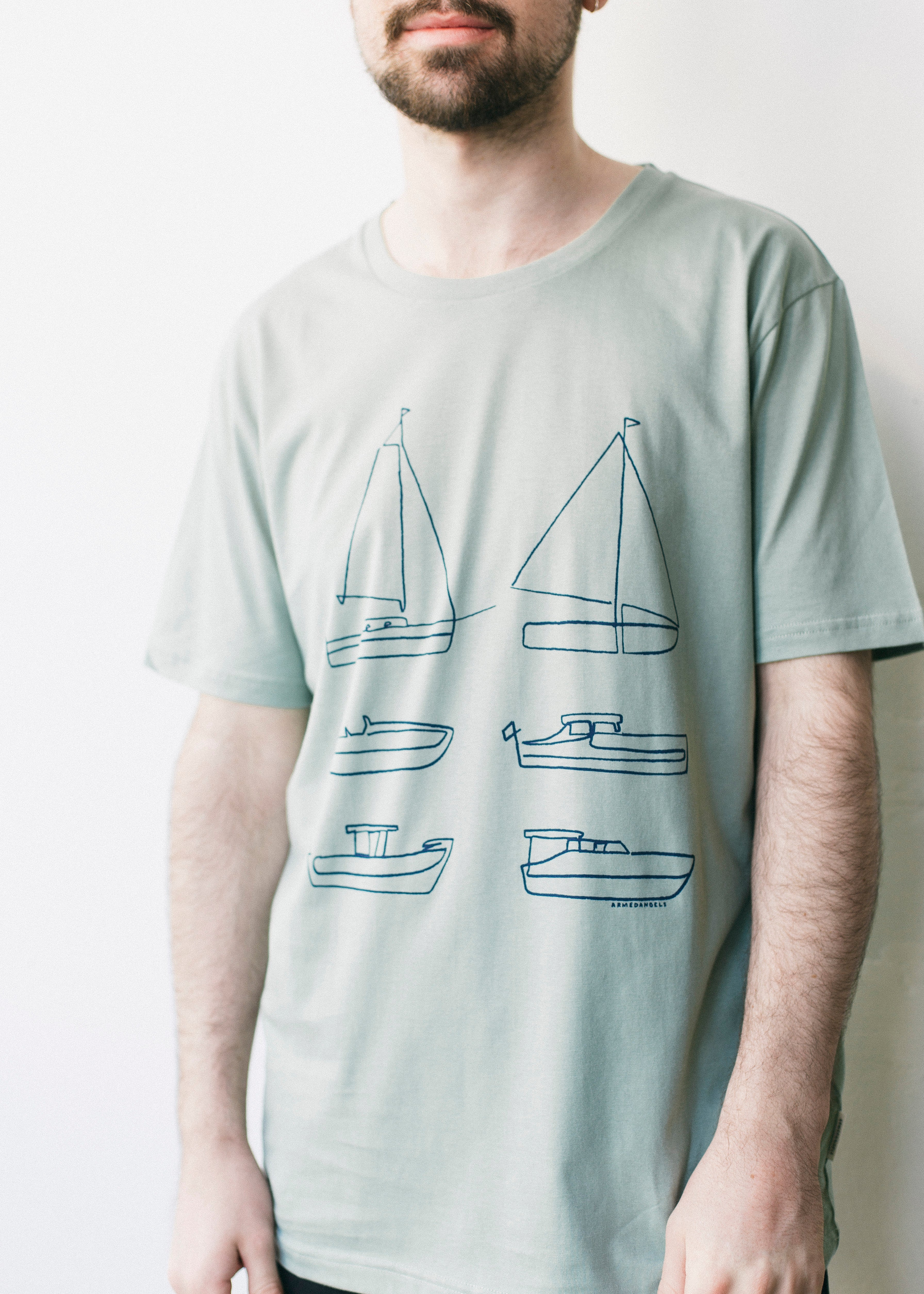 Jaames Six Boats in Chinois Green-T-shirt-Sancho's Dress