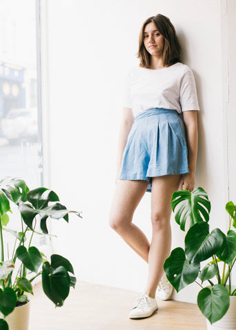 Samara Shorts in Chambray-Shorts-Sancho's Dress