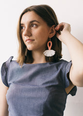 Kiki Semi Circle Earrings in Pink and Cream-Earrings-Sancho's Dress