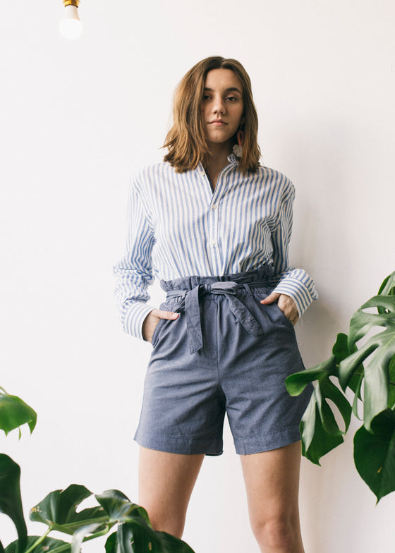 Taabitha Chambray in Blue-Shorts-Sancho's Dress
