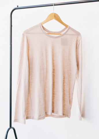 She Flatters in Faded Nude-LS T-Shirt-Sancho's Dress