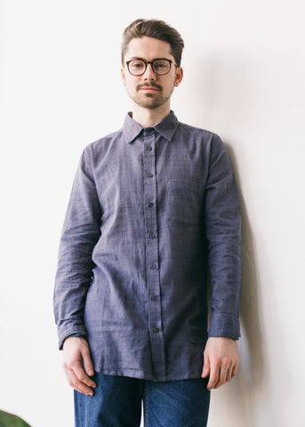 Handloom Long Sleeve Shirt in Indigo-Shirt-Sancho's Dress