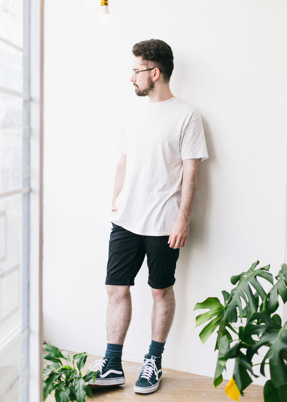 Organic Chino Shorts in Black-Shorts-Sancho's Dress