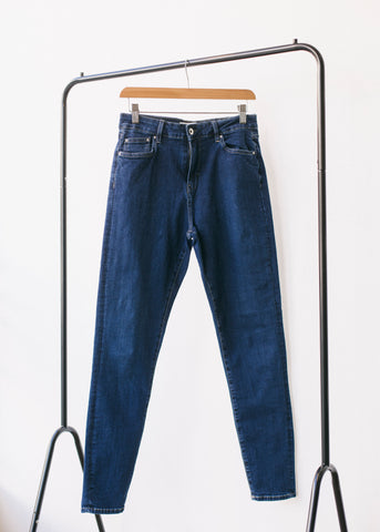 Dark Blue Eco Wash Jane High Waisted Super Skinny Organic Jeans-Jeans-Sancho's Dress