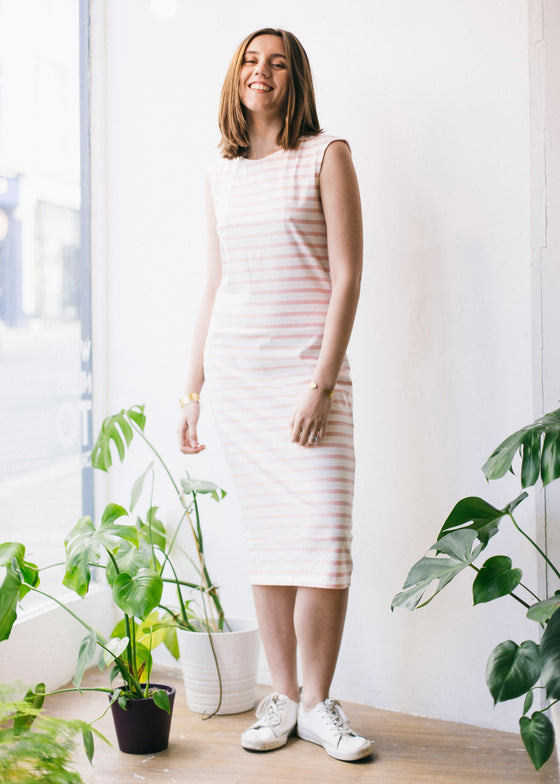 Amelia Stripe Dress in Pink-Dress-Sancho's Dress