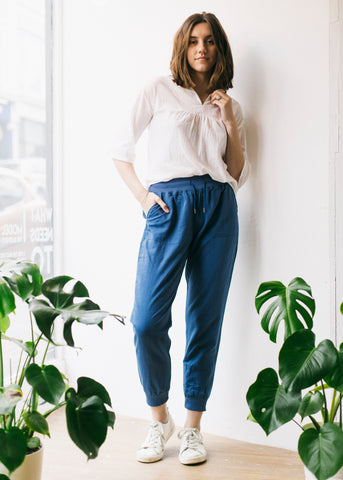Women's Linen and Cotton Trousers in Navy-Trousers-Sancho's Dress