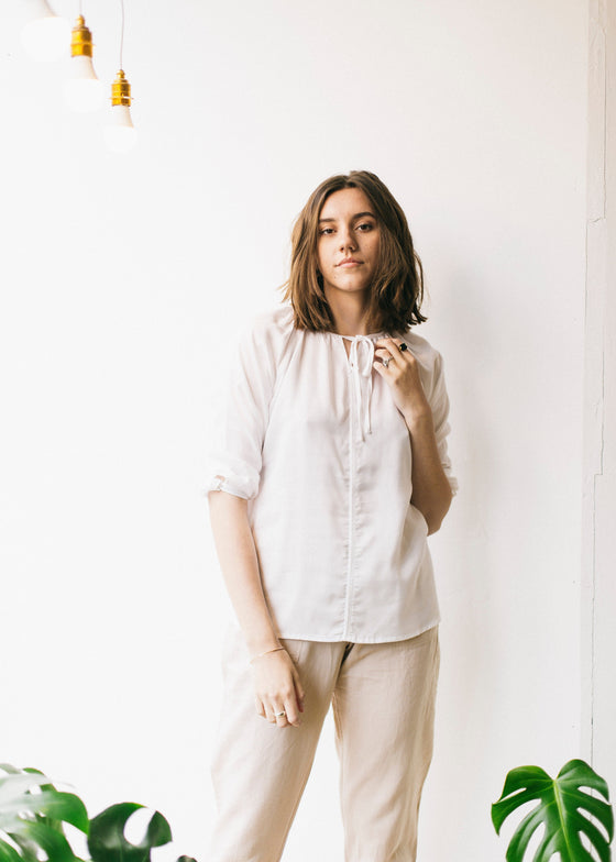 3/4 Sleeve Tencel Blouse in White-Top-Sancho's Dress