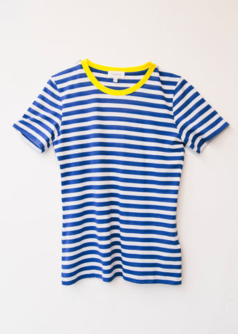 Lidaa Bold Stripes in Signal Blue-T-shirt-Sancho's Dress
