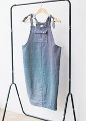 Sancho's Herringbone Long Pinafore in Blue-Dress-Sancho's Dress
