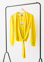 Sara Wrap Cardigan in Yellow-Cardigan-Sancho's Dress