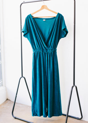 Sancho's Jumpsuit in Velour Green-Jumpsuit-Sancho's Dress