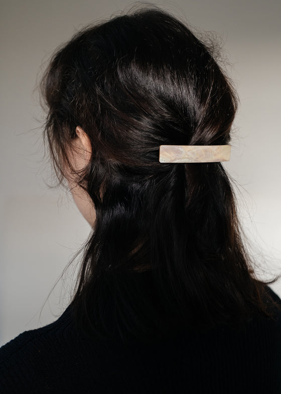 Chic Ethically Made Bar Hair Clip in Pearl from Wolf & Moon