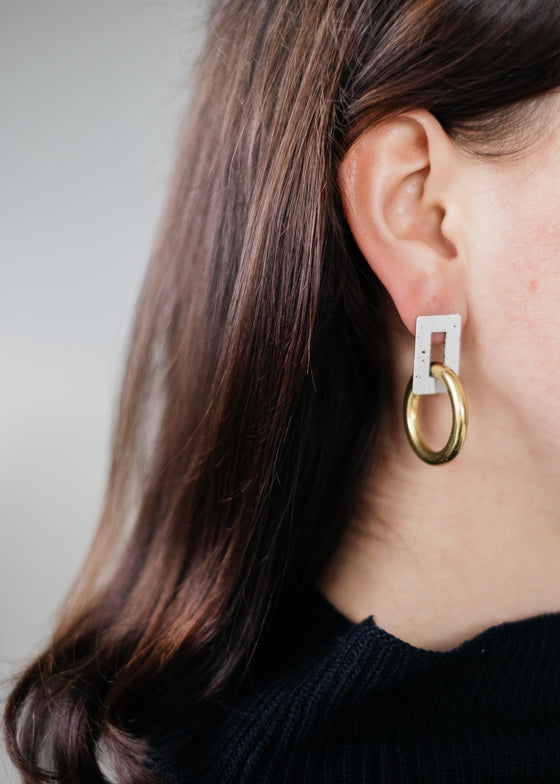 Chic Ethical Etta Earrings in Cream Eggshell and Brass from Wolf & Moon