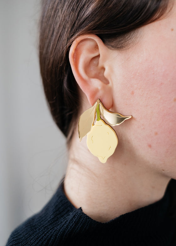 Statement Ethically made Lemon Earrings from Wolf & Moon