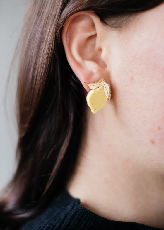 Statement Ethically made Mini Lemon Studs from Wolf & Moon