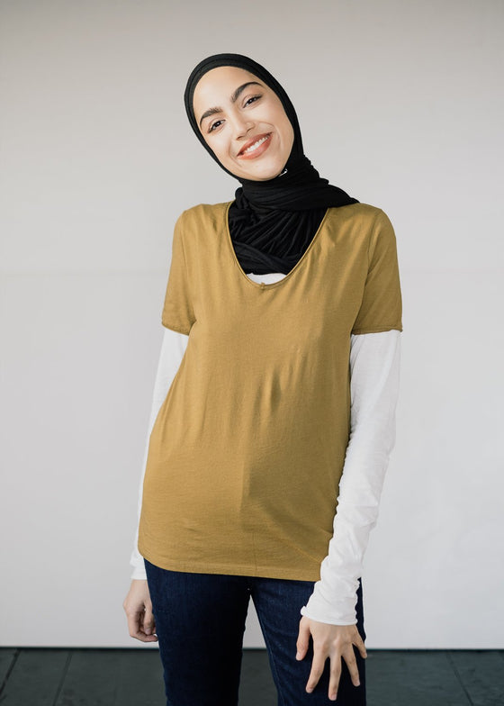 100% Organic Cotton Base Layer Haadia T-shirt in Golden Khaki from Armedangels