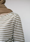 Dalenaa Stripes in Off White-Golden Khaki