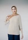 Organic Cotton Dalenaa Stripes in Off White-Golden Khaki Top from Armedangels