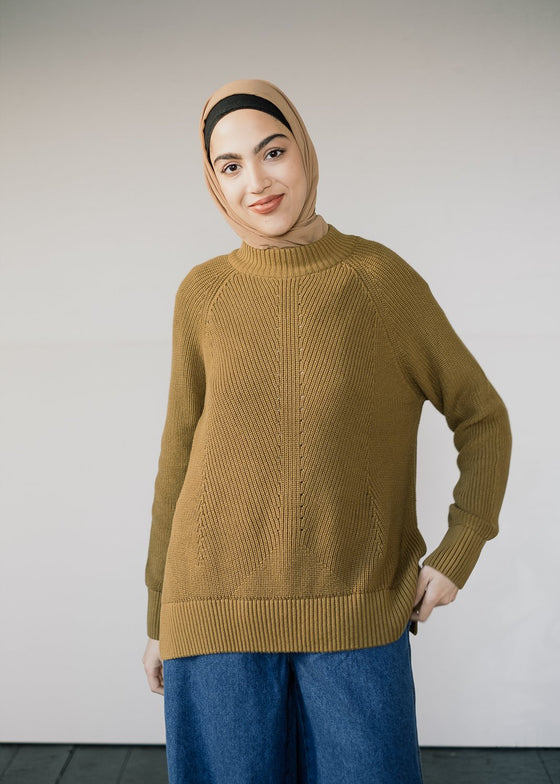 100% Organic Cotton Knitted Islaa Jumper in Golden Khaki from Armedangels