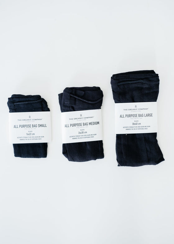 Zero Waste Organic Cotton All Purpose Bag in Black from The Organic Company