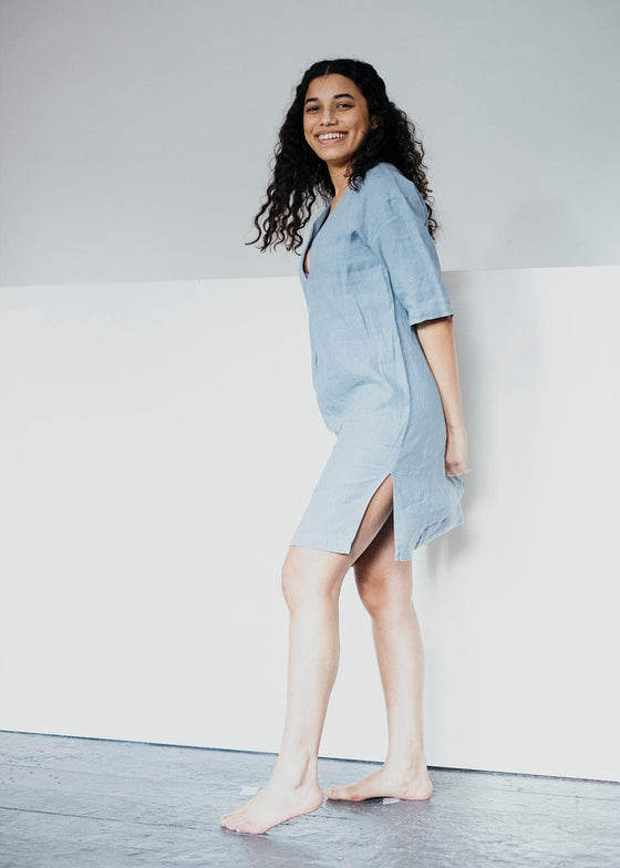 Mabal Nightie in Sea Glass Blue