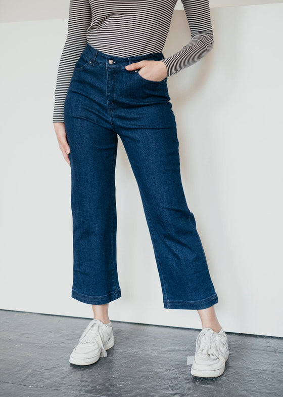 Organic Cotton Rosa Culottes Trousers in Denim Blue from Thought