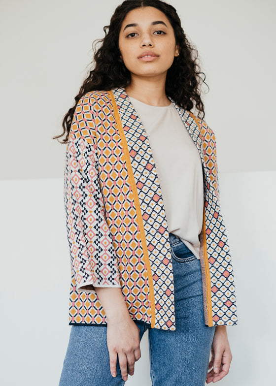 Organic Cotton and Wool Ida Cardigan in Multi Colour Geometric Print from Thought