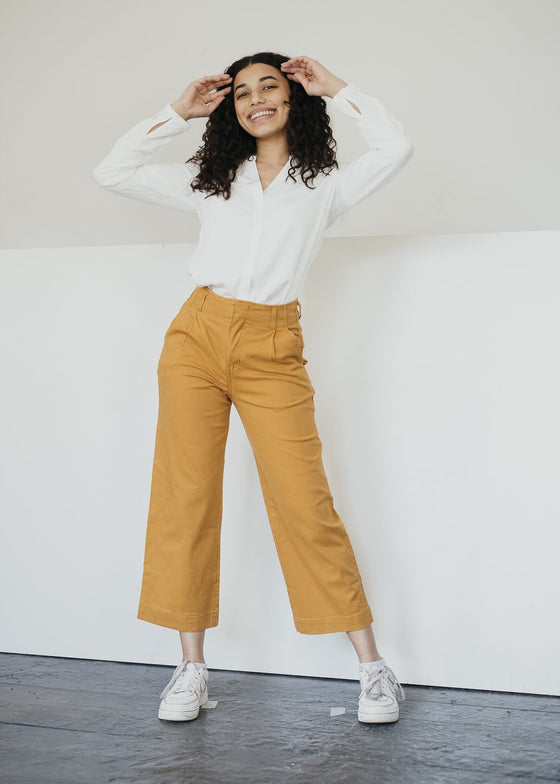 Organic Cotton Justina High Waisted Trousers in Saffron Orange from Thought