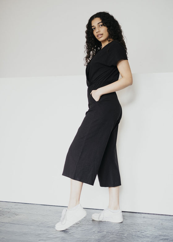 Organic Cotton Oliana Jumpsuit in Black from People Tree