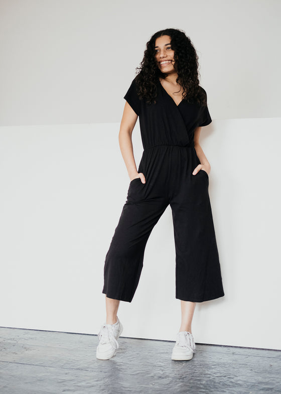 Ethically made Organic Cotton Evelyn Culotte Jumpsuit in Black from People Tree At Sancho's, the home of sustainable fashion in Exeter, Devon, UK.