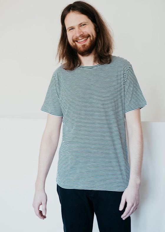 Alder Narrow Striped Tee in Pineneedle