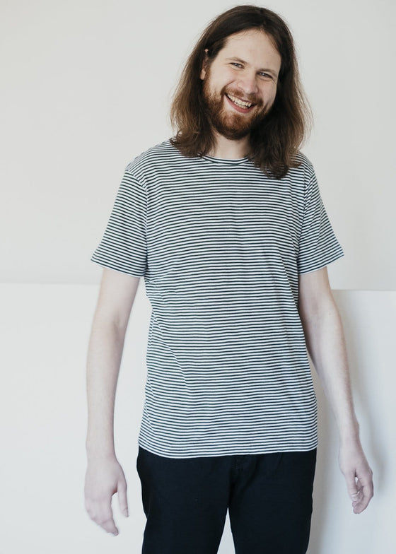 100% Organic Cotton Alder Narrow Striped Tee in Pineneedle Green and White from Knowledge Cotton Apparel