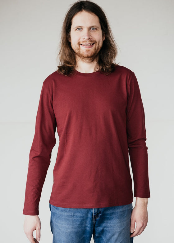 Red Long Sleeve Organic Cotton Top Sancho's