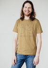Organic Cotton Short Sleeve Top in Military Green With Text 'Who Need's Cars' from Armedangels.