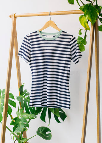 Lida Bold Stripes Dark Cobalt and White-T-Shirt-Sancho's Dress