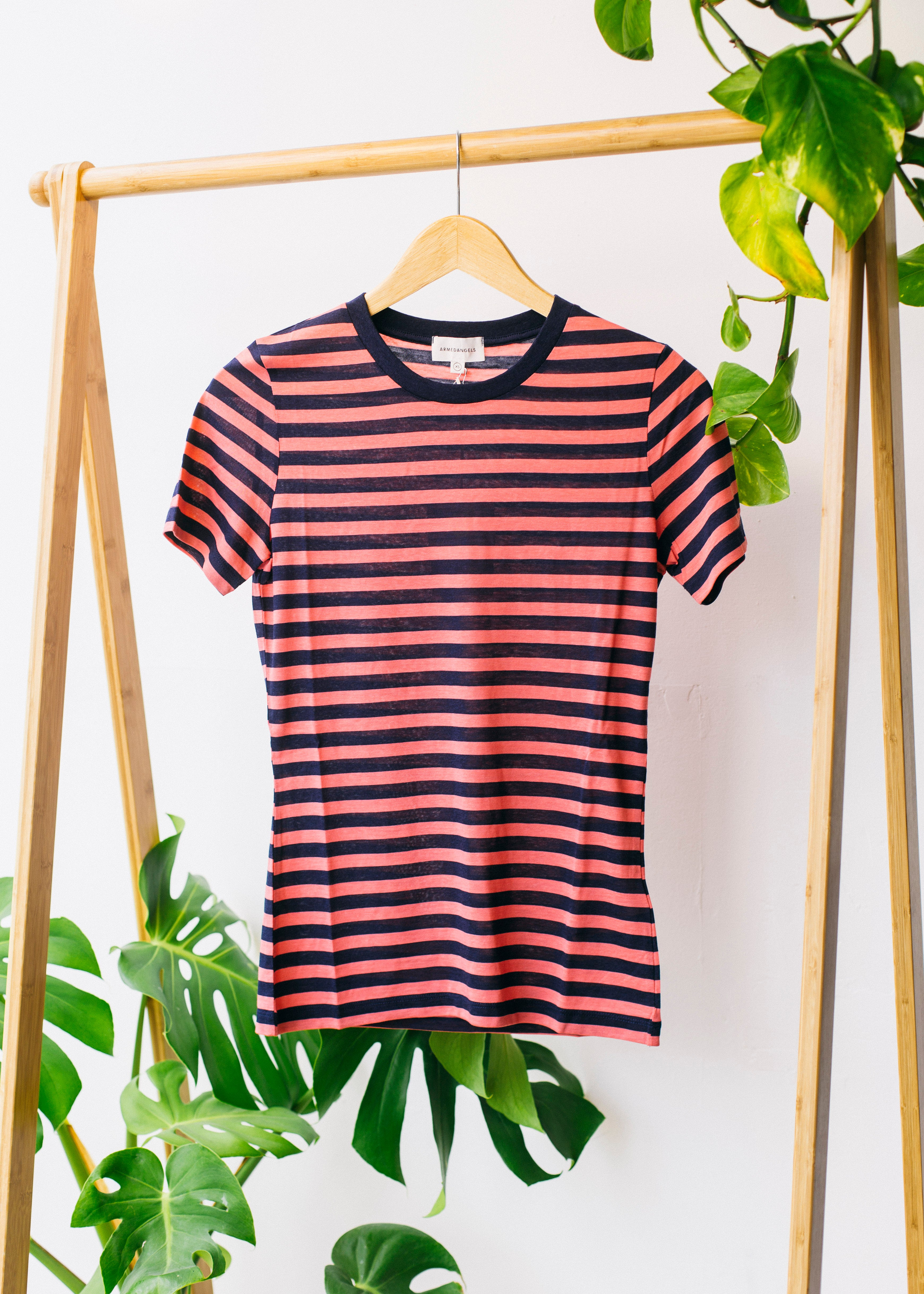 Lida Bold Stripes in Vibrant Coral-T-Shirt-Sancho's Dress