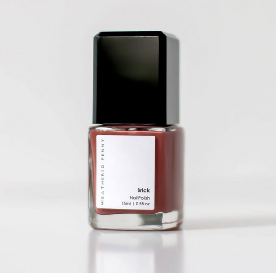 Toxic free, Cruelty free, Vegan Friendly Nail Polish from A Weathered Penny in Neutral Brick Red Colour