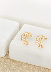 Pave Crescent Moon Stud - Sterling Silver-Earrings-Sancho's Dress