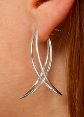Sterling Silver Double Petal Earrings-Earrings-Sancho's Dress