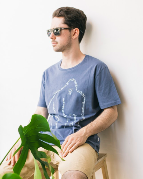 Wordy Gorilla Tee in Indigo Blue-T-shirt-Sancho's Dress