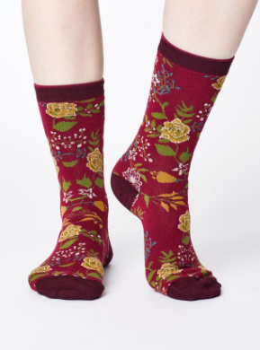 Garden Floral Print Bamboo Socks - Cranberry-Socks-Sancho's Dress