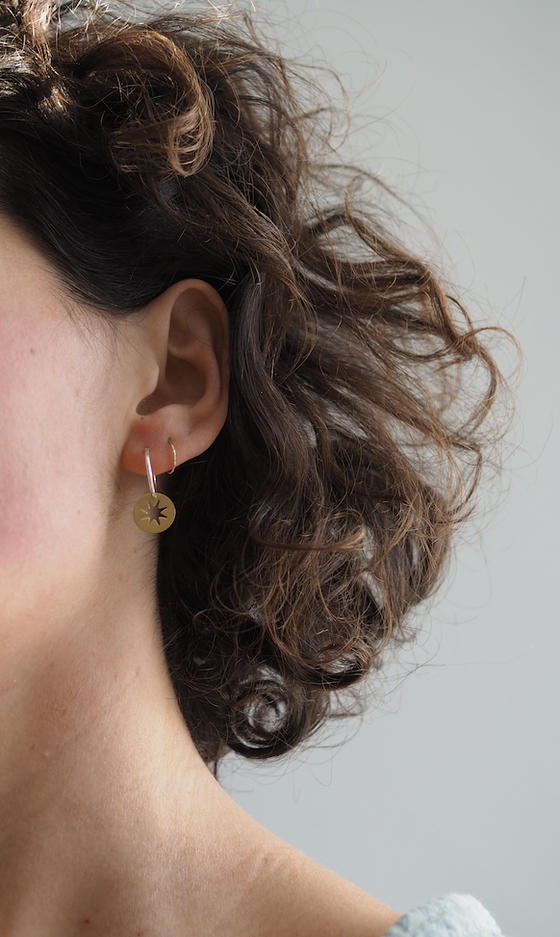 The Celeste Brass and Silver Earrings