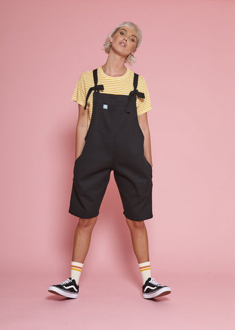 Sol Cotton Dungaree Shorts in Black-Dungarees-Sancho's Dress