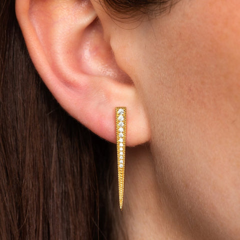 Scream Pretty - Gold Sparkling Spike Earrings-Earrings-Sancho's Dress