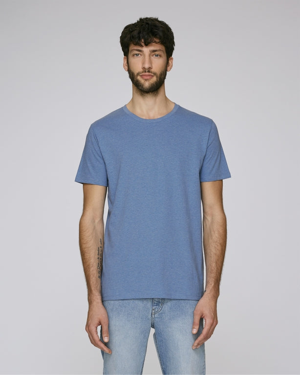 He Leads in Mid Heather Blue-T-Shirt-Sancho's Dress
