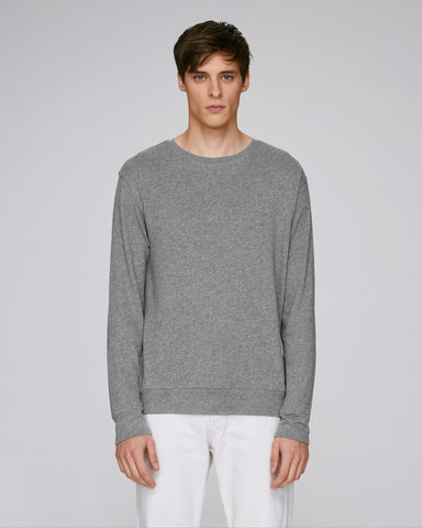 He Seeks Cosy in Mid Heather Grey-Sweatshirt-Sancho's Dress