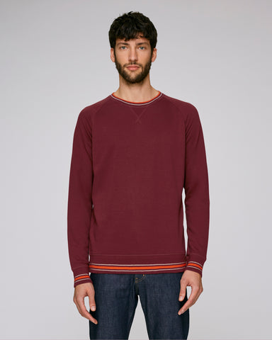 He Strolls Tipped in Burgundy-Sweatshirt-Sancho's Dress