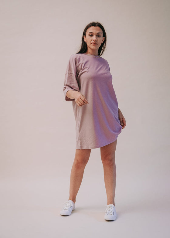 Organic Cotton LA T-shirt Dress in Lilac Petal from Sancho's in Exeter, Devon, UK.